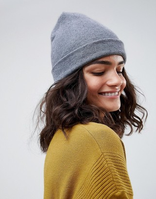 Asos Design DESIGN turn up beanie in recycled polyester-Gray