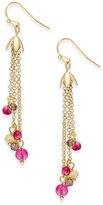 Vera Bradley Gold-Tone Floral Fringe Earrings