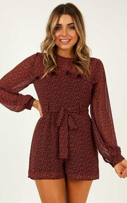 Showpo Time Well Spent Playsuit in wine floral - 8 (S) Long Sleeve