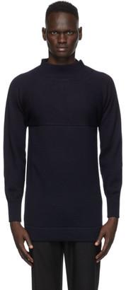 Maison Margiela Navy Mock Neck Sweater