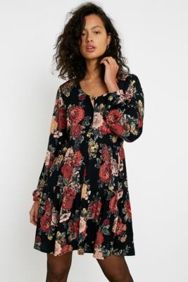 Urban Renewal Vintage Urban Outfitters Archive Ella Floral Long-Sleeve Dress - Black XS at Urban Outfitters