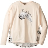 Roberto Cavalli Long Sleeve Graphic Shirt w/ Feather Print on Back Girl's Clothing