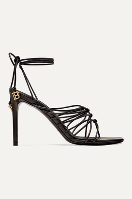 Balmain Mikki Knotted Leather Sandals - Black