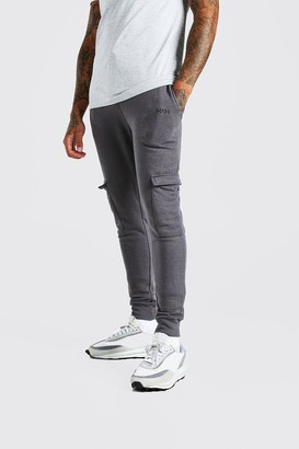 boohoo Mens Grey Original MAN Super Skinny Cargo Jogger, Grey
