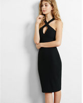 Express black textured crisscross dress