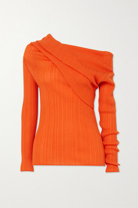 Nina Ricci Off-the-shoulder Draped Cotton-blend Crepon Top - Orange
