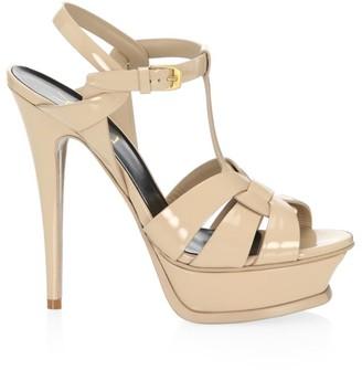 Saint Laurent Tribute 135MM Patent Leather Platform Sandals