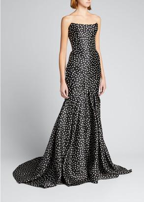 Rasario Polka Dot Silk Mermaid Gown