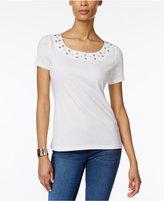 Karen Scott Embellished T-Shirt, Created for Macy's