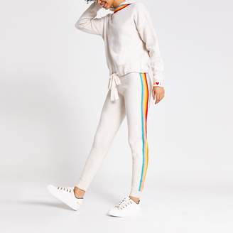 River Island Womens Cream rainbow stripe knitted joggers