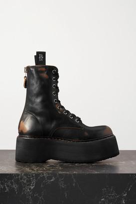 R 13 Distressed Leather Platform Ankle Boots - Black