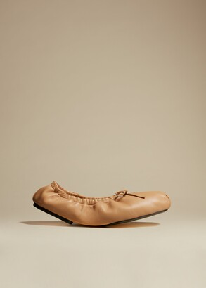 KHAITE The Ashland Ballet Flat in Tan Leather