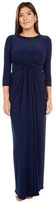 Adrianna Papell Beaded Neck Jersey Twist Gown (Midnight) Women's Dress