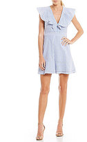 WAYF Manning Ruffle Striped Poplin Fit and Flare Dress