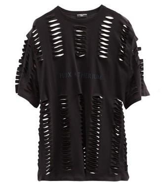 Raf Simons Ss06 Flux Aetherium-print Laser-cut Cotton T-shirt - Black