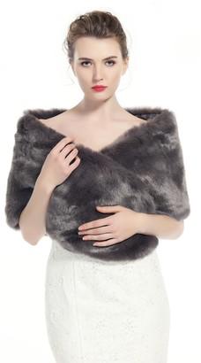Beautelicate Faux Fur Wrap Shawl Shrug Wedding Evening Dress for Women Black