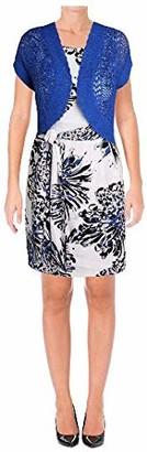 Robbie Bee Women's Petite Printed Prada Jacket Dress with Royal Shrug