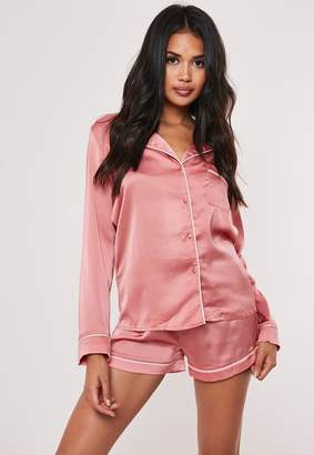 Missguided Pink Satin Contrast Piping Pyjama Shirt