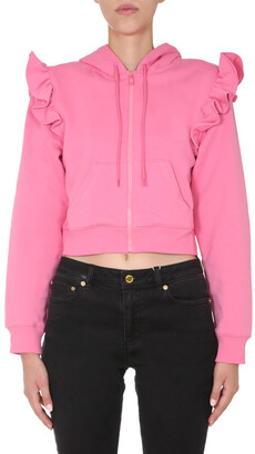 Moschino Ruffle Cropped Hooded Jacket