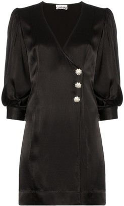 Ganni Wrap-Front Mini Dress