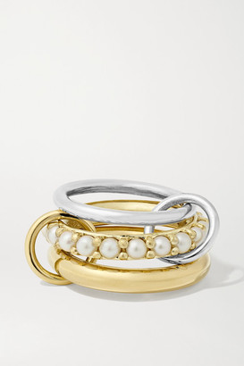 Spinelli Kilcollin Set Of Three 18-karat Gold, Sterling Silver And Pearl Rings - 7