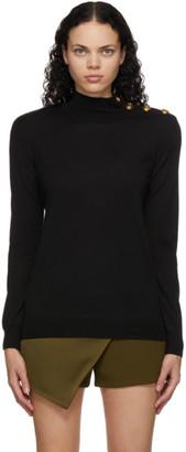 Balmain Black Wool and Silk Turtleneck