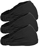 Mudder Elastic Sports Headband Wicking Sweatband 5 Inch for Fashion, Yoga and Exercise, 3 Pack