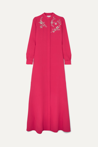 Carolina Herrera Crystal-embellished Silk-georgette Gown - Pink