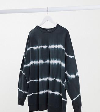 ASOS DESIGN Curve oversized sweatshirt in charcoal with tie-dye stripe