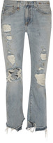 R 13 Bowie Distressed High-rise Straight-leg Jeans - Mid denim