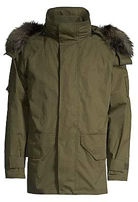 Yves Salomon Men's Fox Fur-Trim Hooded Parka