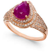 Macy's Certified Ruby (2 ct. t.w.) and White Sapphire (3/4 ct. t.w.) Ring in 14k Rose Gold, Created for