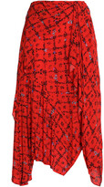 Thumbnail for your product : Preen Line Asymmetric Floral-print Crepe De Chine Skirt