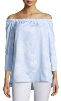 Lafayette 148 New York Amy Floral-Print Off-the-Shoulder Chambray Blouse, Multi