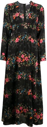 RED Valentino Floral Flounces print V-neck dress