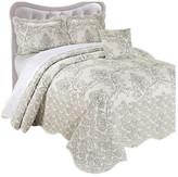 Serenta Damask Coverlet 4 Piece Bed Spread Set, Antique White, King