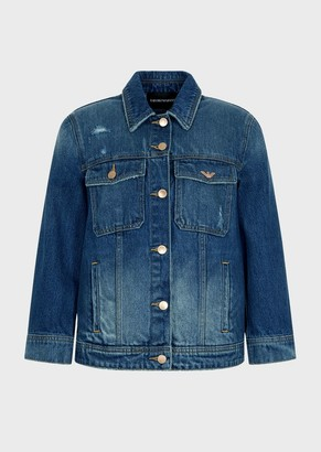 Emporio Armani Vintage Denim Jacket With Micro Rips