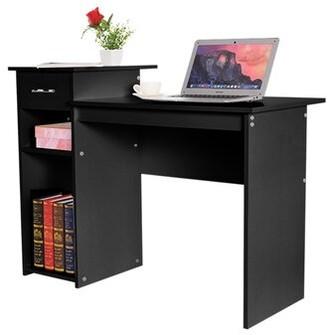 "Ebern Designs Home Desktop Computer Desk With Drawers Home Small Desk Dormitory Study Desk Color: White, Size: 27.5"" H x 40.9"" W x 19.6"" D"