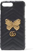 Gucci Gg Marmont Embellished Quilted Leather Iphone 7 Plus Case - Black