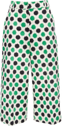 La DoubleJ Polka-Dot Print Flared-Leg Culottes
