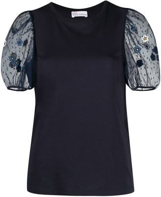 RED Valentino Embroidered Flower Sheer Puff Sleeve Top
