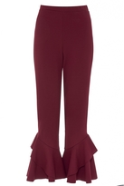 Quiz Berry Cropped Double Frill Hem Trousers