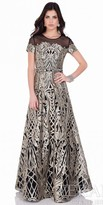 Terani Couture A-Line Metallic Embroidered Evening Gown