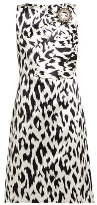 Calvin Klein Leopard-print Crystal Brooch Silk Dress - Black White
