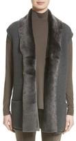 Lafayette 148 New York Women's Merino & Cashmere Vest With Genuine Shearling Trim