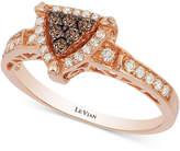 LeVian Neo Geo Le Vian Chocolatier® Chocolate and Vanilla Diamond Triangle Ring (1/3 ct. t.w.) in 14k Rose Gold