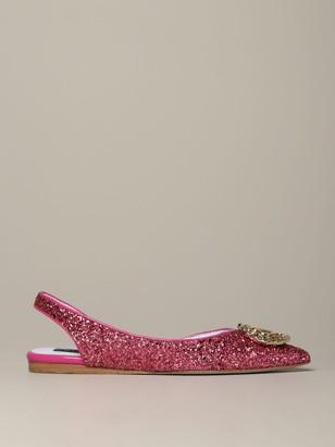 Chiara Ferragni Glitter Flat Sandal With Monogram