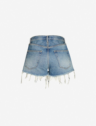 Off-White Faded relaxed-fit high-rise denim shorts