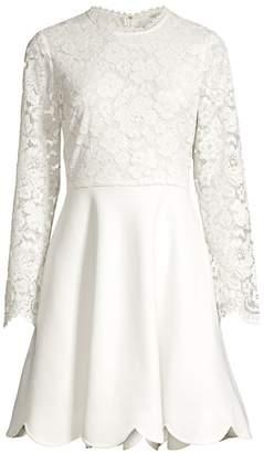 Shoshanna Laurian Lace-Panel Dress