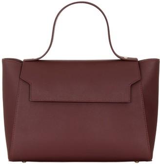 Cara The Top Handle Tote Leather Bag Burgundy